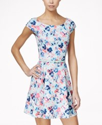 As U Wish Juniors' Belted Floral Print Fit And Flare Dress