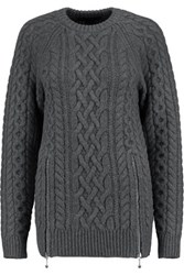 Alexander Wang Zip Detailed Cable Knit Merino Wool Sweater Dark Gray