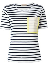 Erika Cavallini Patch Pocket Striped T Shirt Blue