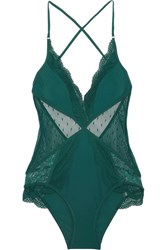 Zimmermann Tropicale Lace And Point D'esprit Paneled Swimsuit Forest Green