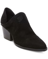 Steve Madden Steven By Women's Skelos Perforated Ankle Booties Women's Shoes Black Nubuck