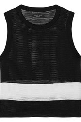 Rag And Bone Valerie Cotton Trimmed Mesh Tank Black
