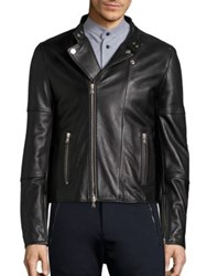 Diesel Black Gold Long Sleeve Leather Moto Jacket Black