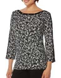 Rafaella Printed Cotton Top Black