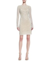 Naeem Khan Beaded Jewel Neck Long Sleeve Cocktail Dress Ivory