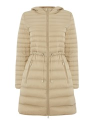 Armani Jeans Long Light Weight Down Padded Coat With Hood Beige