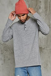 Forever 21 Marled Knit Henley Tee Heather Grey