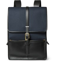 Miansai Leather And Canvas Backpack Navy