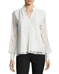 1.State Lace Overlay Long Sleeve Blouse White