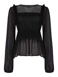Label Lab Guipure Lace Blouse Black