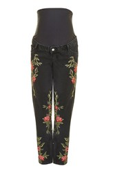Topshop Maternity Rose Embroidered Mom Jeans Washed Black