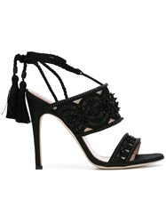 Alberta Ferretti Bead And Tassel Embellished Sandals Women Leather Polyester 38 Black