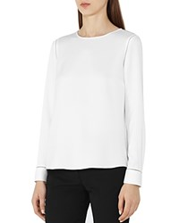 Reiss Cecile Button Back Blouse Off White