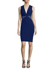 Roberto Cavalli Lace Inset Sheath Dress Sapphire