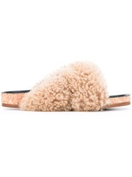 Chloe Slider Sandals Women Leather Sheep Skin Shearling Foam Rubber 36 Nude Neutrals