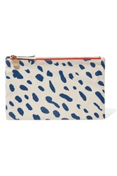 Clare V. V Contrast Printed Cotton And Denim Double Clutch White