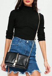 Missguided Black Faux Leather Zip Clutch