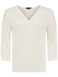 Jaeger V Neck Tunic Blouse Ivory
