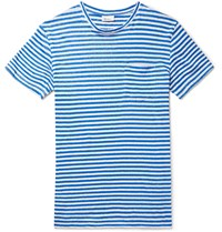 Schiesser Helmut Striped Linen Jersey T Shirt Blue