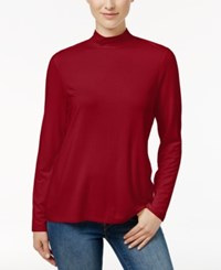 Charter Club Mock Neck Long Sleeve Top Only At Macy's New Red Amore
