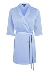 Topshop Satin Double Breasted Wrap Dress Cornflower B