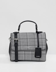 Aldo Cading Grey Plaid Mini Tote Bag With Studding Detail Grey Plaid