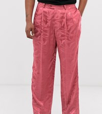 Heart And Dagger Wide Leg Trousers In Pink Texture