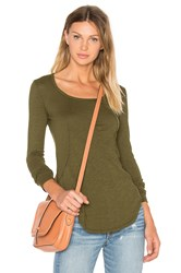 Bobi Slubbed Jersey Long Sleeve Scoop Neck Top Green