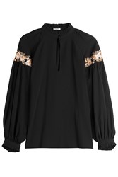 Vilshenko Cotton Blouse With Embroidery Black