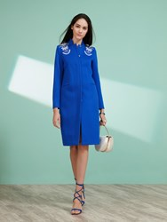 Shanghai Tang Wool Coat With Embroidery Royal Blue
