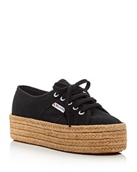 Superga Cotropew Lace Up Platform Espadrille Sneakers Black