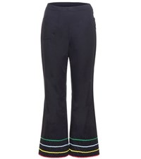 Anna October Cropped Cotton Trousers Blue