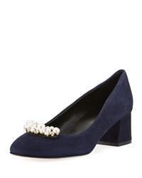 Sesto Meucci Mindy Low Heel Pearly Ornament Pumps Navy