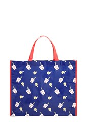Forever 21 Fortune Cookie Print Tote Bag Blue Red