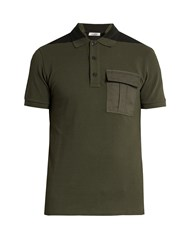 Valentino Bi Colour Flapped Pocket Polo Shirt Green