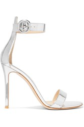 Gianvito Rossi Portofino 105 Metallic Leather Sandals Silver