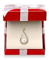 Macy's Cultured Freshwater Pearl 9Mm And Diamond Accent Pendant Necklace In 14K Gold