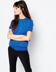 Fred Perry Polka Dot Fitted Jumper Blue