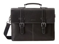Kenneth Cole Reaction Flappy Go Lucky Colombian Leather Flapover Brief Black Briefcase Bags
