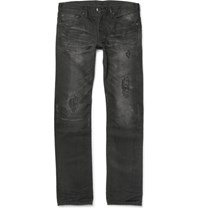 Fabric Brand And Co Moku Slim Fit Distressed Washed Selvedge Denim Jeans Black