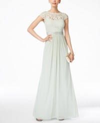 Adrianna Papell Cap Sleeve Lace Gown Mint