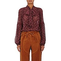 Ulla Johnson Women's Odelia Embroidered Georgette Blouse Burgundy
