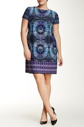 London Times Short Sleeve Prism Shift Dress Plus Size Purple