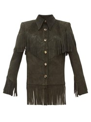 Khaite Jimmy Fringed Suede Jacket Green