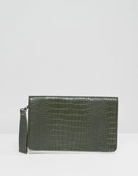 Silvian Heach Mock Croc Fold Over Contrast Clutch Bag Green White
