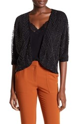 Ella Moss Beaded Dolman Short Sleeve Jacket Black