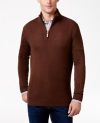 Geoffrey Beene Men's Quarter Zip Drop Needle Sweater Chocolate