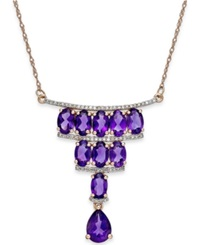 Macy's Amethyst 4 1 3 Ct. T.W. And Diamond 1 5 Ct. T.W. Deco Necklace In 14K Rose Gold Yellow Gold