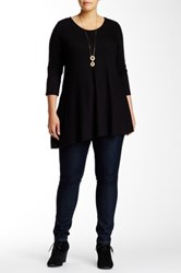 Andrea Jovine Asymmetric Blouse Plus Size Black