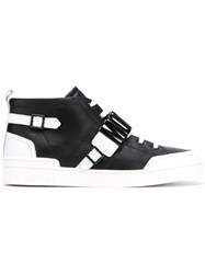 Moschino Monochrome Hi Top Sneakers Men Leather Metal Rubber 43 Black